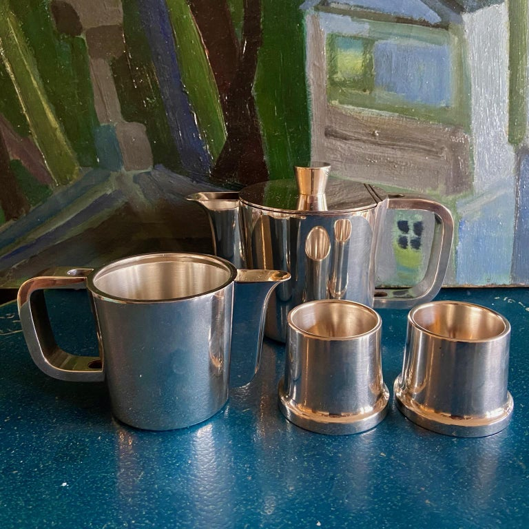Mid-Century Modern Gio Ponti Silver Plated Coffee Pot, Milk Jug and Egg Cups for Krupp, 1930s-1950s For Sale