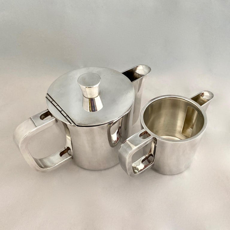 Italian Gio Ponti Silver Plated Coffee Pot, Milk Jug and Egg Cups for Krupp, 1930s-1950s For Sale