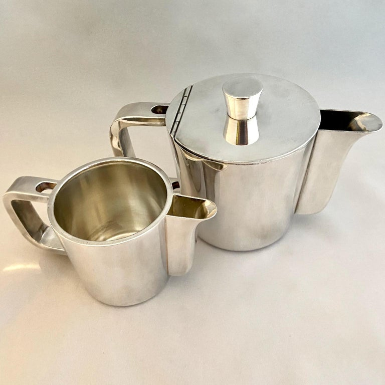 Silvered Gio Ponti Silver Plated Coffee Pot, Milk Jug and Egg Cups for Krupp, 1930s-1950s For Sale