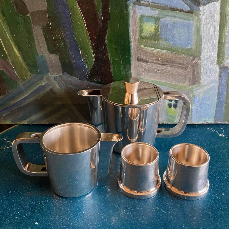 Alpaca Gio Ponti Silver Plated Coffee Pot, Milk Jug and Egg Cups for Krupp, 1930s-1950s For Sale