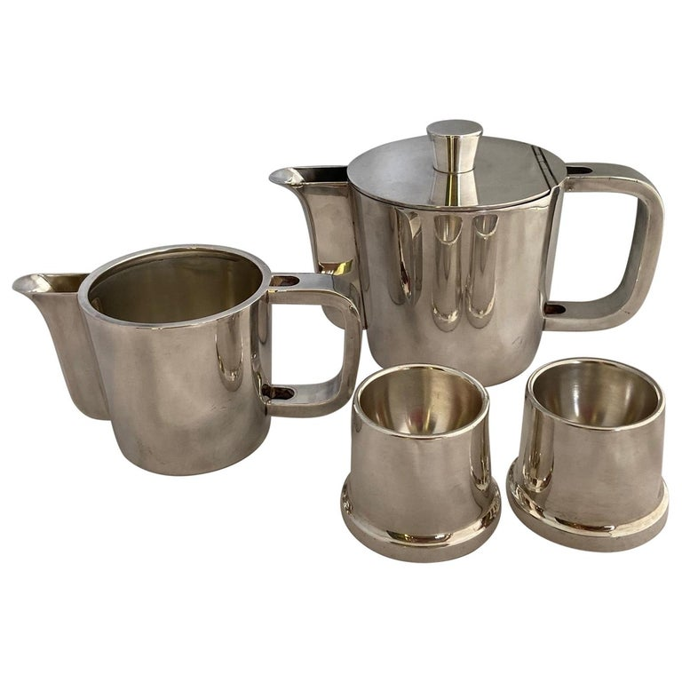 Gio Ponti Silver Plated Coffee Pot, Milk Jug and Egg Cups for Krupp, 1930s-1950s For Sale