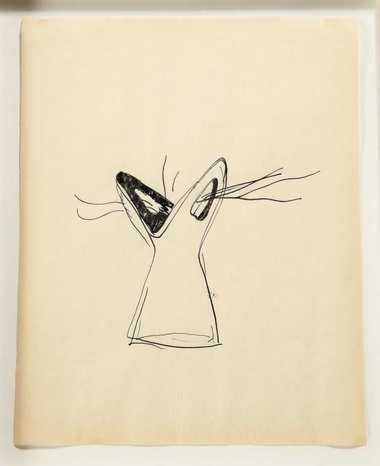 A wonderfully whimsical concept drawing of a vase. Authentication papers from the Gio Ponti archives provided with drawing.