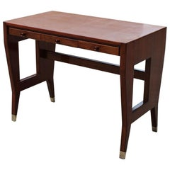 Gio Ponti Small Desk Mid-Century Italian Design Laminate Brass Walnut