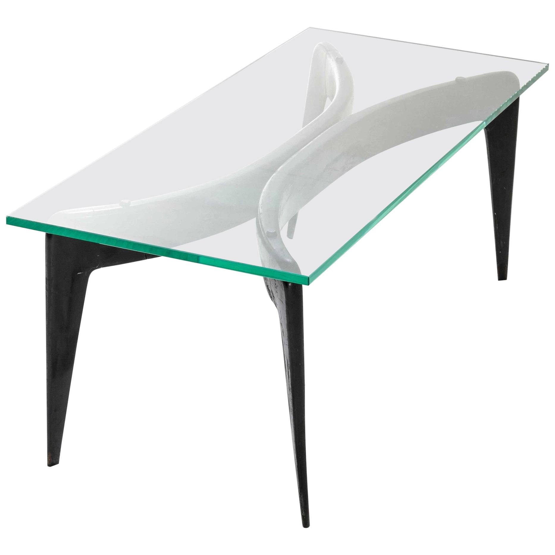 Gio Ponti Sofa Table in Wood and Glass Fontana Arte, 1950s, Italy