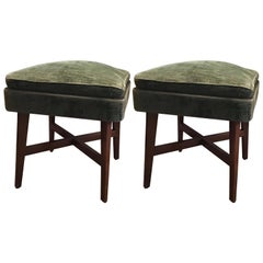 "Gio Ponti ""Stile"" Pair of Benches /Stools Wood Seat Wood Velvet, 1950, Italy"