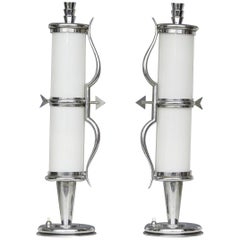 "Gio Ponti ""Stile"" Table Lamps Crome Metal Glass, 1930, Italy"