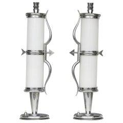 "Gio Ponti ""Stile"" Table Lamps Crome Metal Glass, 1930, Italy"