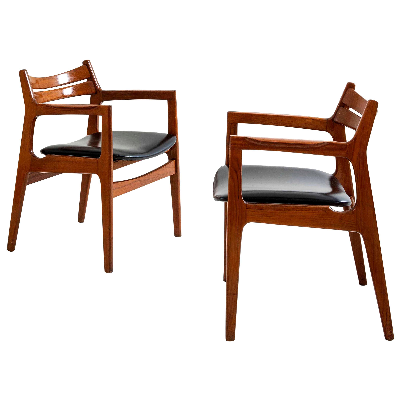 Gio Ponti Style 2 Armchairs Mid-Century Modern, Italy, 1950s