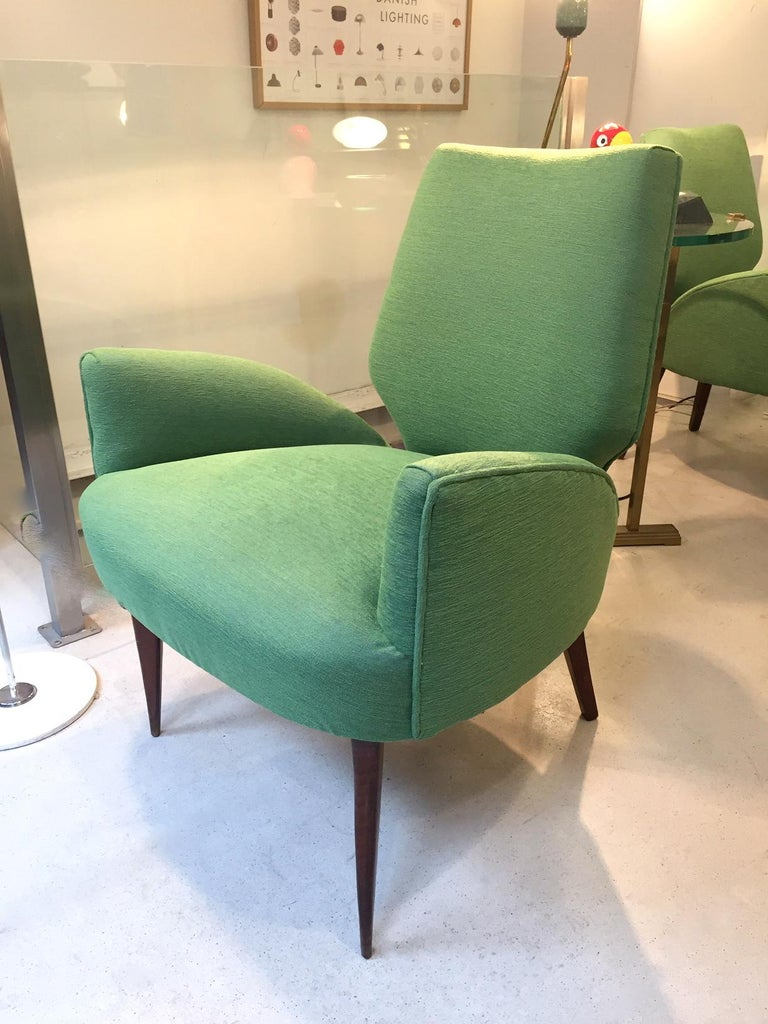 Fabric Gio Ponti Style Armchairs, 1950 For Sale