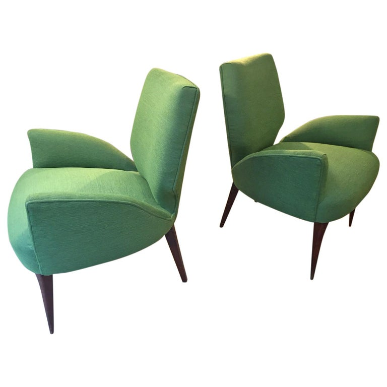 Gio Ponti Style Armchairs, 1950 For Sale
