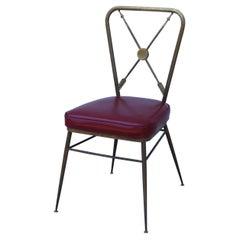 Gio Ponti Style Arrow Back Solid Brass Italian Vanity Chair