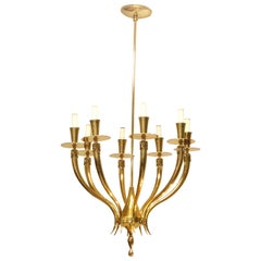 Gio Ponti Style Brass Chandelier with 8 Lights, 1950s
