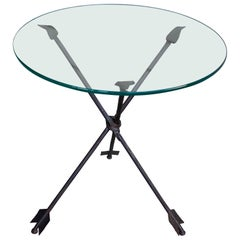 Gio Ponti Style Iron Arrow Base and Glass Top Side Table