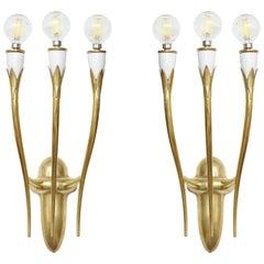 Gio Ponti Style Italian Brass Sconces