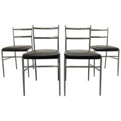 Gio Ponti Style Italian Chrome Chairs