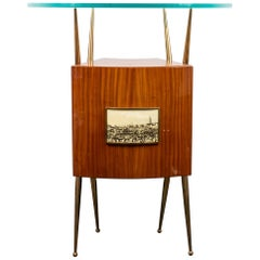 Gio Ponti Style Italian Mid-Century Modern Dry Bar Cabinet