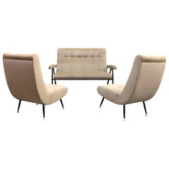 Gio Ponti Style Italian Tufted Settee and Chairs in Taupe Velvet