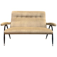 Gio Ponti Style Italian Tufted Settee in Taupe Velvet