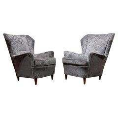 Gio Ponti Style Mid-20th Century Blue Velvet and Wood Italian Pair of Armchairs