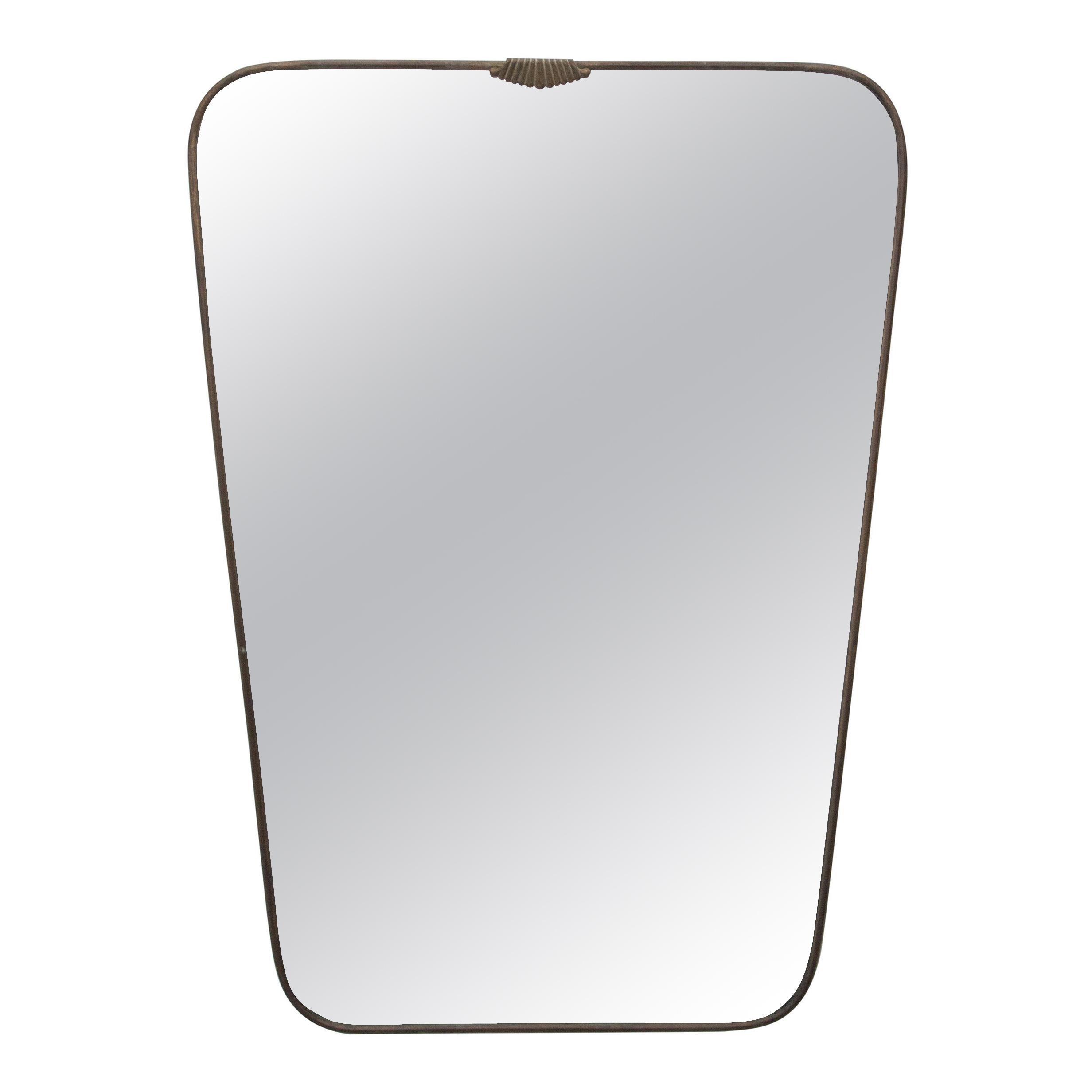 Gio Ponti Style Mid-Century Modern Brass Shield Form Mirror, Italy, 1950