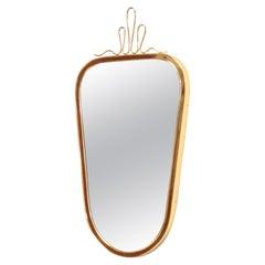 Gio Ponti Style Midcentury Small Brass Wall Mirror, 1950s