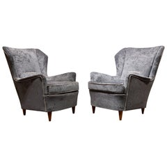 Gio Ponti Style Midcentury Blue Velvet and Wood Italian Pair of Armchairs, 1940