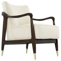 Gio Ponti Style Midcentury Sculptural Walnut Lounge Chair