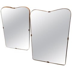 Gio Ponti Style Set of Two Mid-Century Modern Italian Wall Mirrors, circa 1950