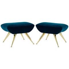 Gio Ponti Style Sputnik Footstools in Aqua Velvet