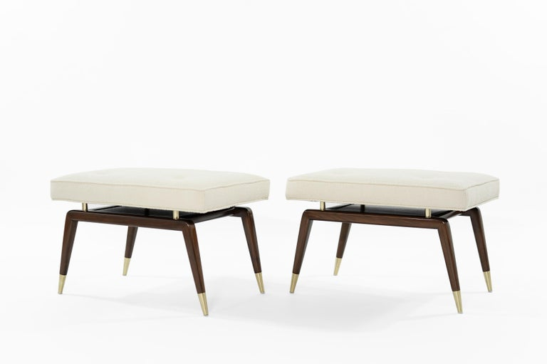 Mid-Century Modern Set of Gio Walnut Benches in Bouclé For Sale