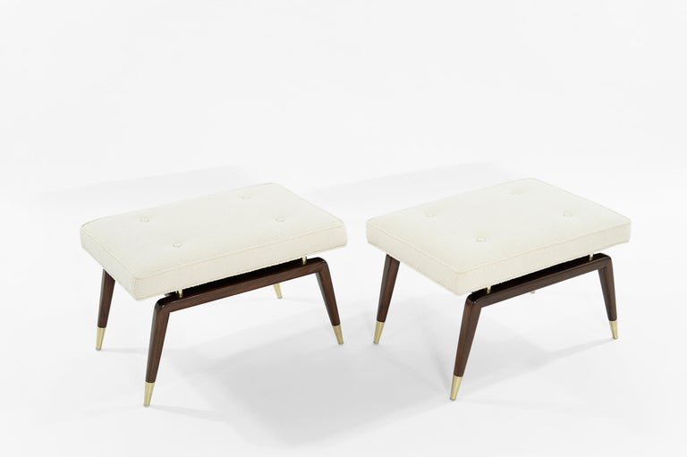 American Set of Gio Walnut Benches in Bouclé