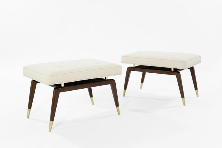 Set of Gio Walnut Benches in Bouclé In New Condition In Stamford, CT