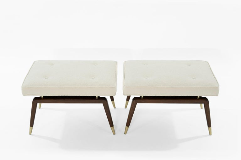 Contemporary Set of Gio Walnut Benches in Bouclé