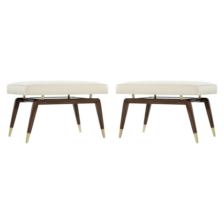 Set of Gio Walnut Benches in Bouclé For Sale