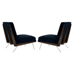 Walnut Boomerang Lounge Chairs on Brass Legs