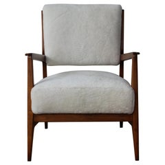 Gio Ponti Style Walnut Lounge Chair in Shearling, Italy, 1950s
