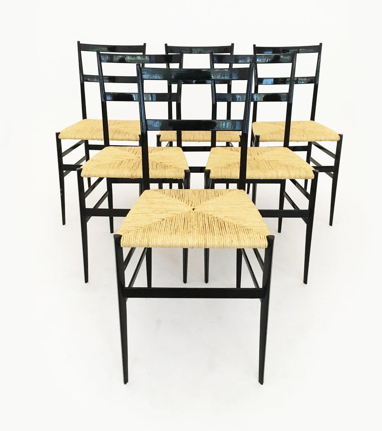 Gio Ponti Superleggera Chairs Set of Six, Italy, 1958 For Sale 3