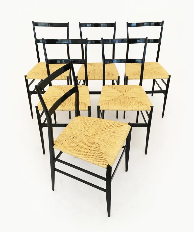 Gio Ponti Superleggera Chairs Set of Six, Italy, 1958 For Sale 4