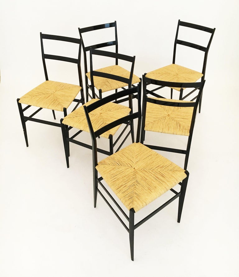 Gio Ponti Superleggera Chairs Set of Six, Italy, 1958 For Sale 5