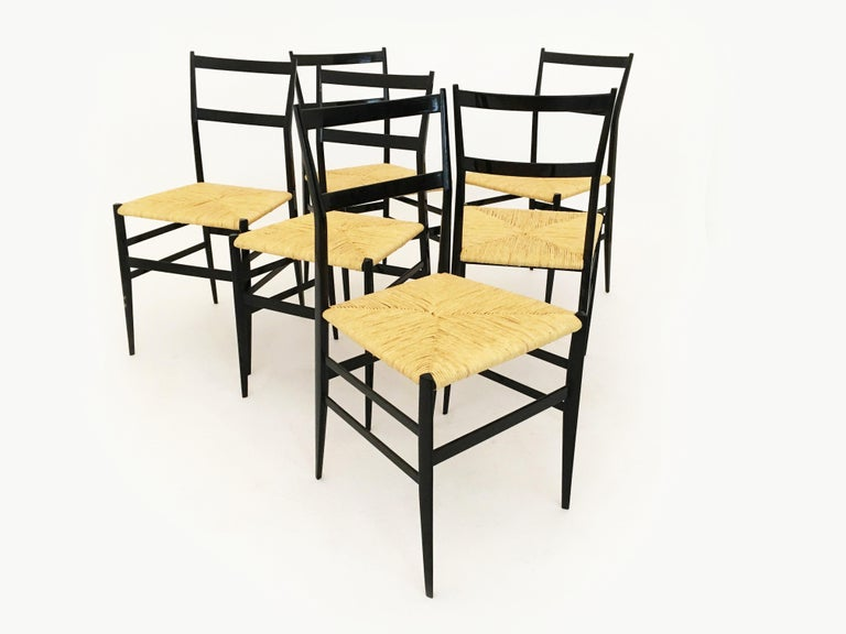 Gio Ponti Superleggera Chairs Set of Six, Italy, 1958 For Sale 6