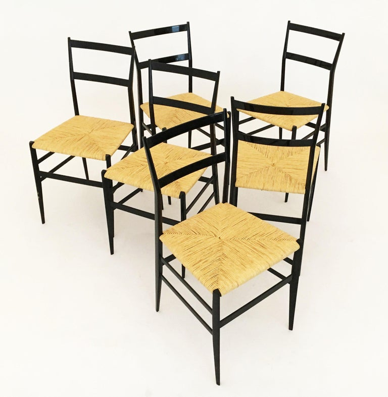Gio Ponti Superleggera Chairs Set of Six, Italy, 1958 For Sale 7