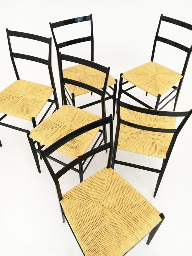 Gio Ponti Superleggera Chairs Set of Six, Italy, 1958 For Sale 8