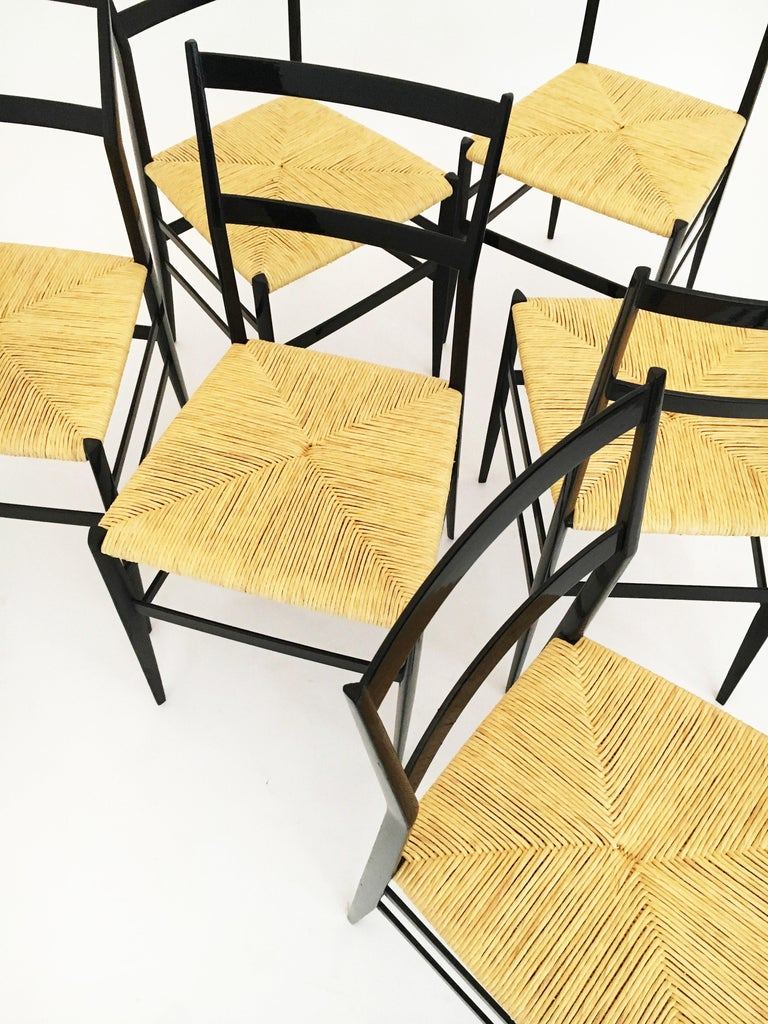 Gio Ponti Superleggera Chairs Set of Six, Italy, 1958 For Sale 9