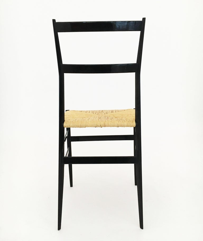 Mid-20th Century Gio Ponti Superleggera Chairs Set of Six, Italy, 1958 For Sale