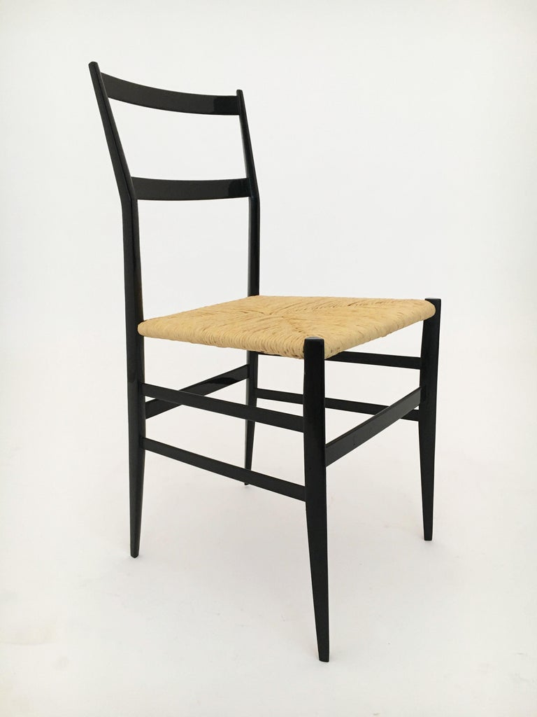 Gio Ponti Superleggera Chairs Set of Six, Italy, 1958 For Sale 1