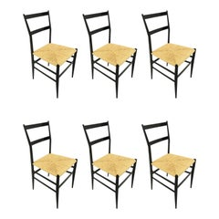 Gio Ponti Superleggera Chairs Set of Six, Italy, 1958