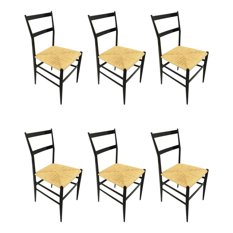 Gio Ponti Superleggera Chairs Set of Six, Italy, 1958 For Sale