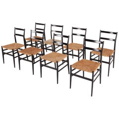 Gio Ponti Superleggera Dining Chairs by Cassina, Set of Eight