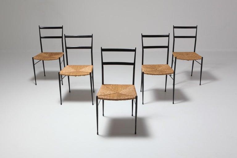 Gio Ponti Superleggera Dining Chairs Edition 'De Bijenkorf' Set of Five For Sale 4