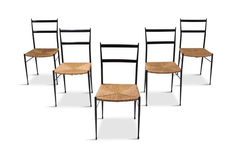 Gio Ponti Superleggera Dining Chairs Edition 'De Bijenkorf' Set of Five For Sale 7